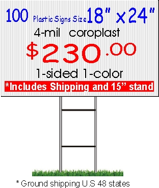 18x24 custom coroplast yard signs