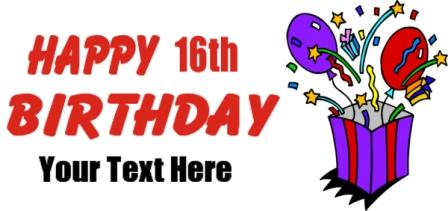 16th Birthday Banner Sixteen Birthday Banner Sweet